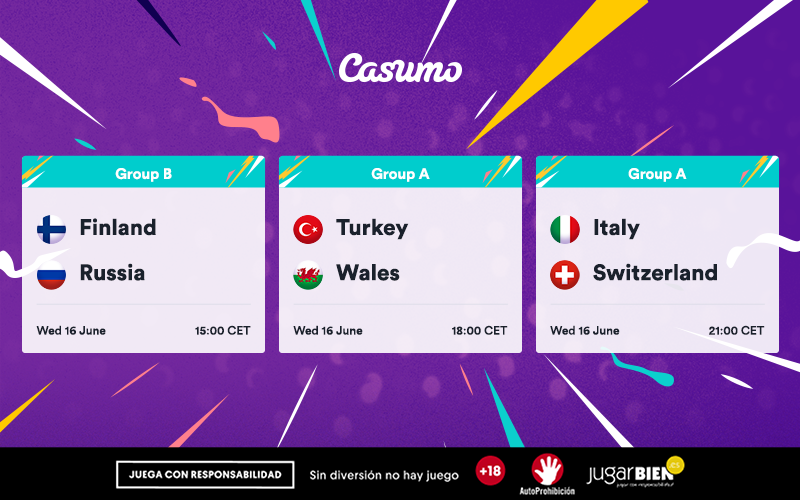 Pronósticos de la Eurocopa 2021. Miércoles 16/06: Italia-Suiza y más
