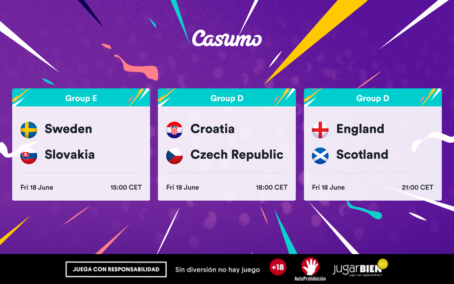 Pronósticos Eurocopa 2021. Viernes 18/06, Suecia-Eslovaquia y mucho más
