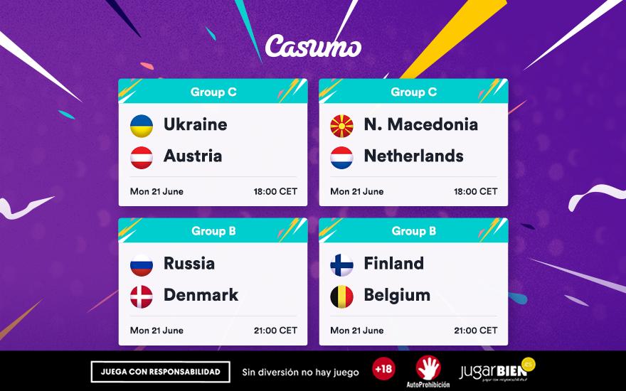 Pronósticos Eurocopa 2021. Lunes 21/06, Bélgica-Finlandia y mucho más