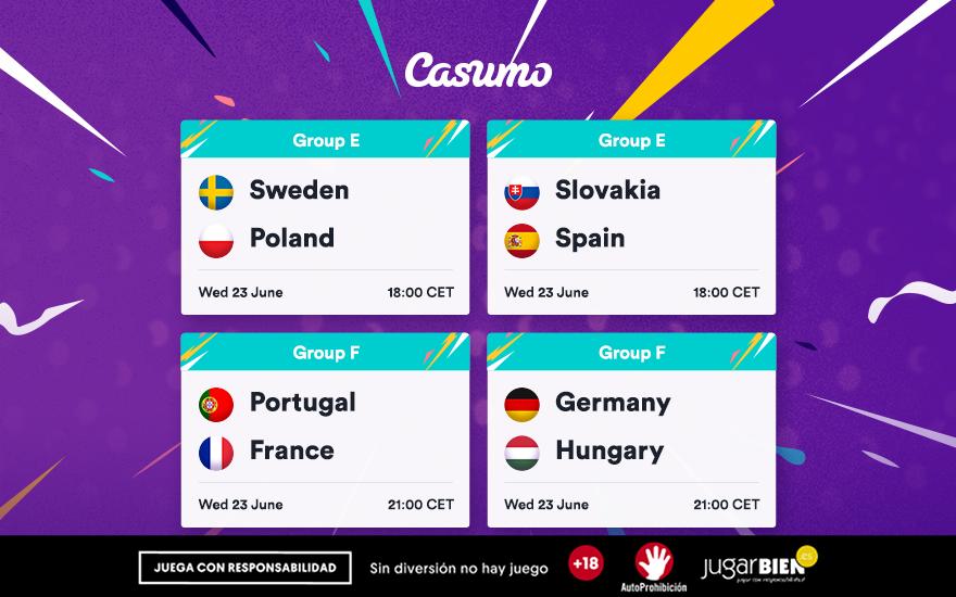 Pronósticos Europa 2021. Miércoles 23/06, Portugal-Francia y mucho más
